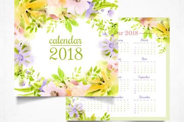 2018年水彩绘花卉年历设计矢量素