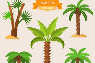 5款绿色棕榈树设计矢量素材