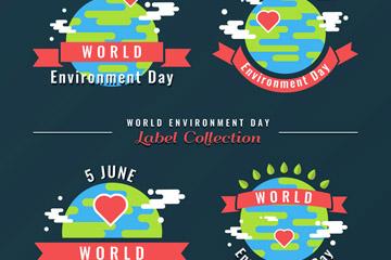 4款扁平化世界环境日标签矢量图