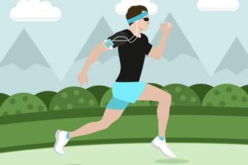 创意跑步健身男子矢量素材