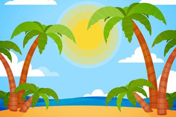 彩色沙滩棕榈树风景矢量图