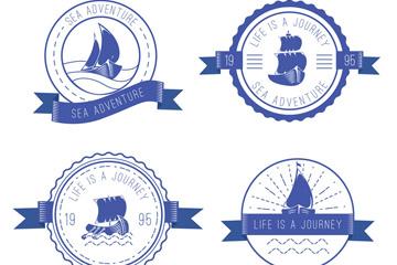 4款创意丝带船舶标志矢量图