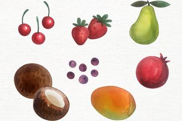 7款彩绘水果设计矢量图