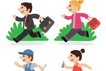 4款卡通跑步人物乐虎国际线上娱乐乐虎国际