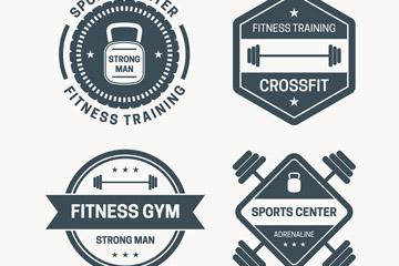 4款复古混合健身标签矢量素材