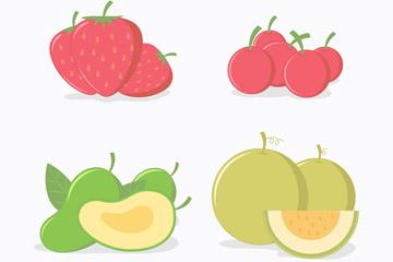4组彩色水果设计矢量图