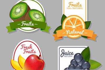 4款彩色水果标签矢量素材