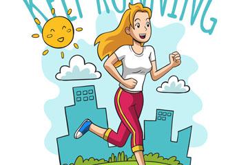 彩绘跑步健身女子矢量素材