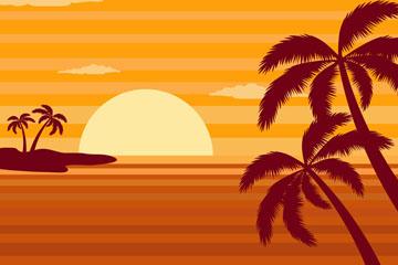 夕阳下的大海和棕榈树矢量图