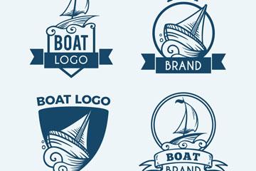 4款手绘蓝色船舶标志矢量图