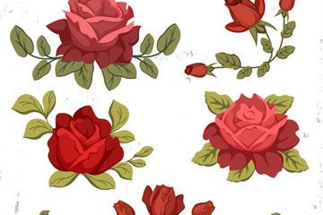 5款复古红色玫瑰花矢量素材