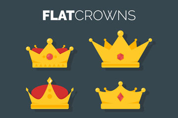 6款扁平化金色王冠矢量素材