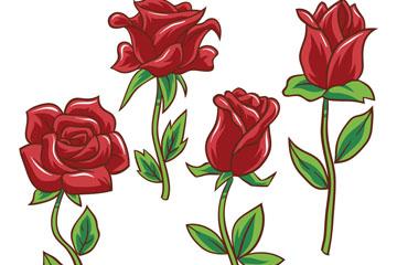 4款彩绘红玫瑰花枝矢量素材