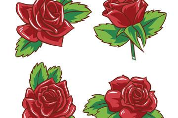 4款美丽红玫瑰花矢量素材
