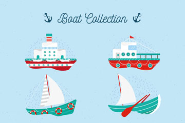 6款彩色船舶设计矢量素材