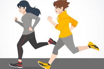 创意跑步的2个女子矢量素材