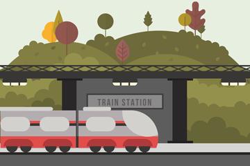 扁平化车站设计矢量素材