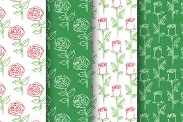 4款彩绘玫瑰花枝无缝背景矢量图
