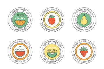 9款圆形水果制品标签矢量图