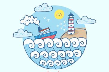彩绘海上的渔船风景矢量素材