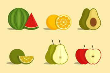 9款彩色新鲜水果矢量素材