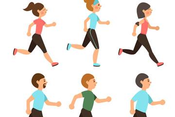 6款创意跑步人物矢量素材