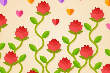 扁平化玫瑰花无缝背景矢量素材
