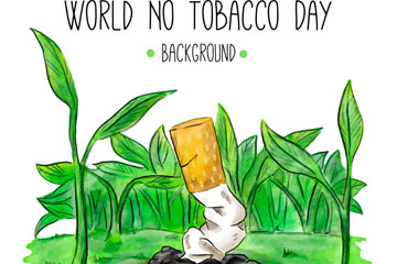 彩绘世界无烟日掐断的香烟矢量素材