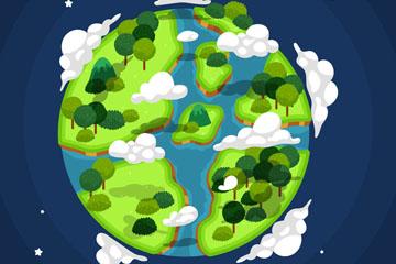 创意被树木覆盖的地球矢量素材