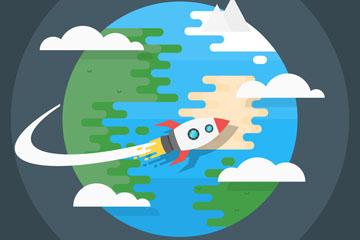 扁平化火箭环绕的地球矢量素材