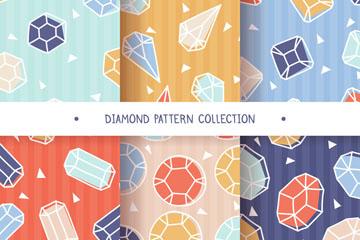 6款彩色宝石无缝背景矢量素材