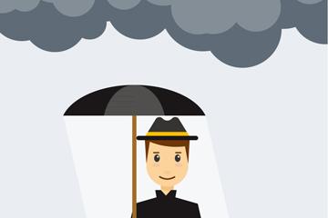 创意雨天打伞的黑衣男子矢量图