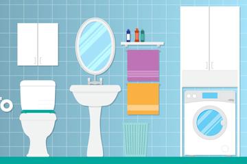 扁平化卫生间设计矢量素材