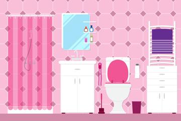 扁平化粉色浴室设计矢量素材
