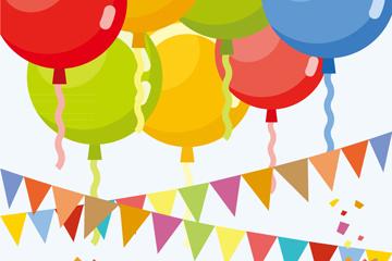 彩色派对气球和三角拉旗矢量梦之城娱乐