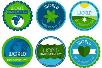6款圆形世界环境日标签矢量图