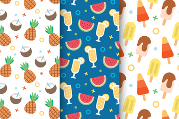 3款彩色夏季水果和饮料无缝背景矢量图
