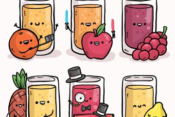 6款手绘表情杯装果汁和水果矢量素材