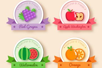 4款彩色水果丝带标签矢量素材