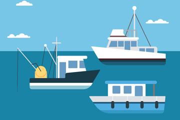 创意海上的3艘船舶矢量素材