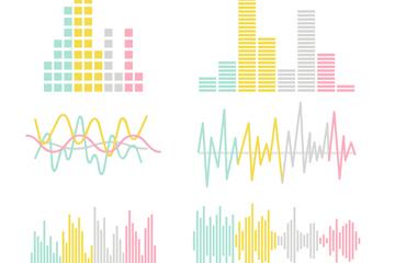 6款彩色声波设计矢量素材