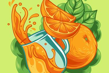 彩绘橙子和橙汁矢量素材