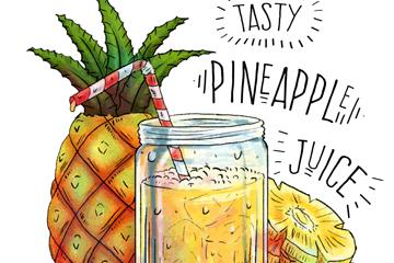 手绘新鲜菠萝和菠萝汁矢量图