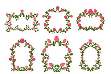 9款红色玫瑰花框架矢量素材