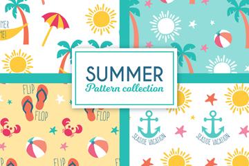 4款彩色夏季元素无缝背景矢量图