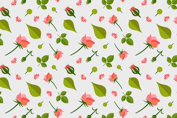 扁平化玫瑰花和叶子无缝背景矢量图