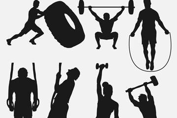 7款创意健身人物剪影矢量素材
