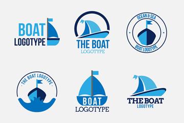 9款蓝色帆船标志矢量素材