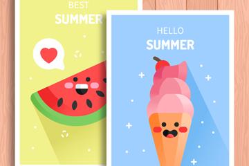 2款可爱夏季西瓜和冰淇淋卡片矢