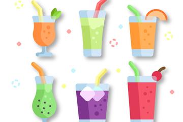 6款彩色夏季水果汁矢量素材